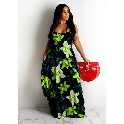 Flower Printing Loose Suspender Dress NSBTY62692