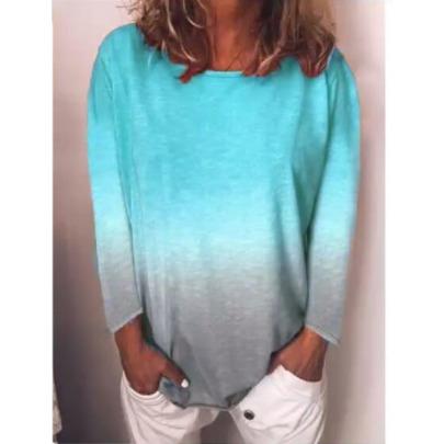 Rainbow Gradient Printing Long-sleeved T-shirt  NSBTY62694