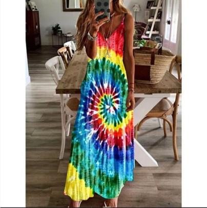 Whirl Pool Hanging Band Loose Print Suspender Dress NSBTY62695