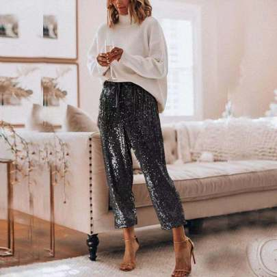 Loose Ruffled High Waist Drawstring Shiny Trousers NSBTY62698