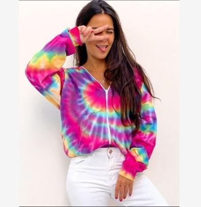 Zipper Hooded Cardigan Tie-dye Printing Long-sleeved Loose Sweatshirt NSBTY62704