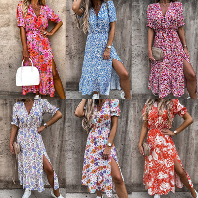 Summer New Sexy Print V-neck Irregular Dress NSHHF62712