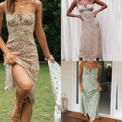 New Summer Hot Style Sexy Floral Sling Split Lace Dress NSHHF62714