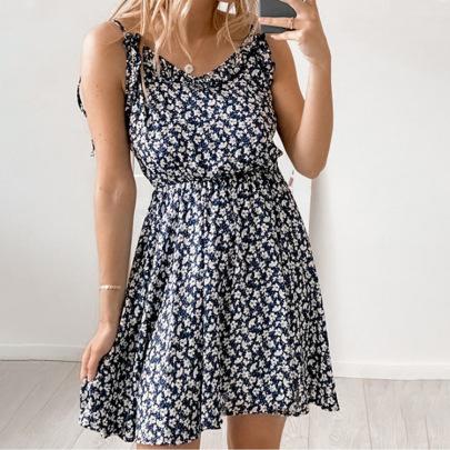 Sexy Floral V-neck Sling Halter Lace-up Dress NSHHF62717