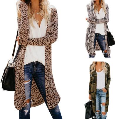 Leopard Snake Print Long-sleeved Mid-length Slim Blouse NSHHF62718
