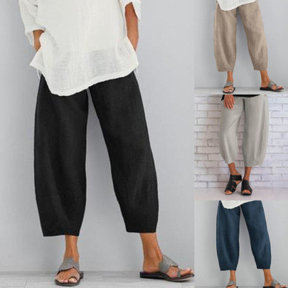 New Style Solid Color Plus Size Simple Loose Casual Nine-point Pants NSHHF62721