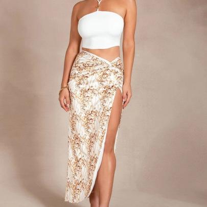 New Summer Fashion Print High Waist Side Split Sexy Irregular Long Skirts NSHHF62722