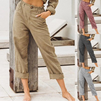 New Style Solid Color Cotton And Linen Fashion Loose High Waist Casual Trousers NSHHF62726