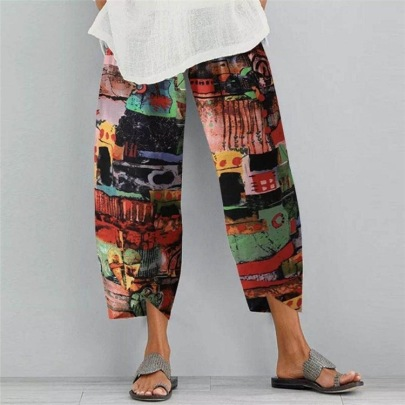 New Summer Cotton And Linen Printed Elastic Plus Size Cropped Trousers NSHHF62728