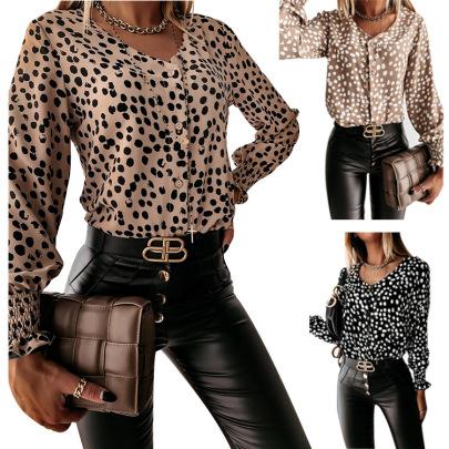 Fall Winter Long-sleeved V-neck Hot Style Cuffs Polka Dot Shirt NSHHF62729