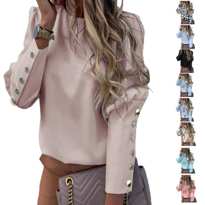 Long-sleeved Round Neck Metal Buckle Blouse NSHHF62731