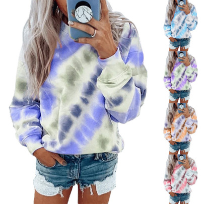 Hot Twill Printing Dyeing Casual Fashion Round Neck Sweater NSHHF62734