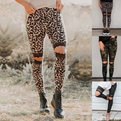 Fashion Leopard-print Outer Wear Spring And Autumn High-waist Pants NSHHF62735