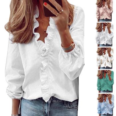 Summer Ruffled Long-sleeved Slim Pineapple Print Shirt NSHHF62744