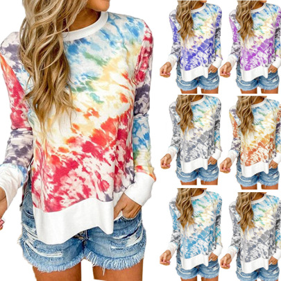 Autumn And Winter Tie-dye Printing Gradient Round Neck Long-sleeved T-shirt NSHHF62745