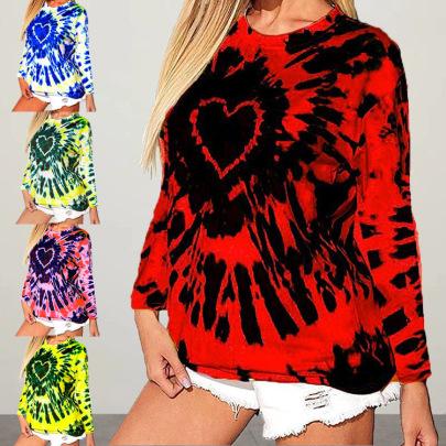 Love Tie-dye Printing Long-sleeved T-shirt NSHHF62746