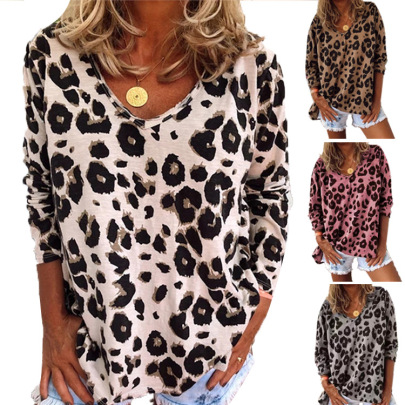 Autumn And Winter Hot Models Digital Printing Leopard Print V-neck Long-sleeved T-shirt NSHHF62748