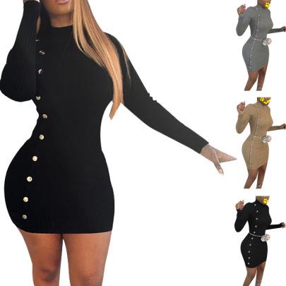 Fashion Slim Solid Color Long-sleeved Waist Bag Hip Knitted Dress  NSHHF62750
