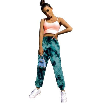 New Elastic Tie-dye Rainbow Color Slimming Casual Pants NSHHF62752