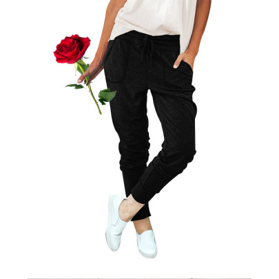 Hot Sale Elastic Lace-up Loose Pocket Trousers NSHHF62753