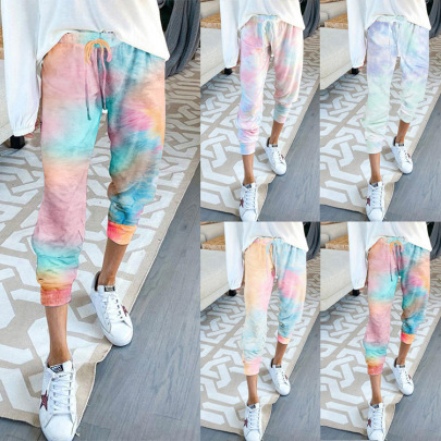 Tie-dye Outer Wear High-waist Lace-up Slacks Trousers NSHHF62755