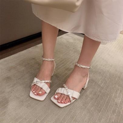 Comfortable Cross Thick Heel Buckle Mid-heel Sandals  NSHU62765