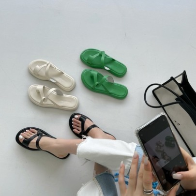 Fashion Solid Color Thick Bottom Slide Sandals NSHU62767