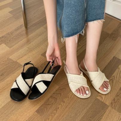 Cross Strap Comfortable Buckle Flat Sandals NSHU62772