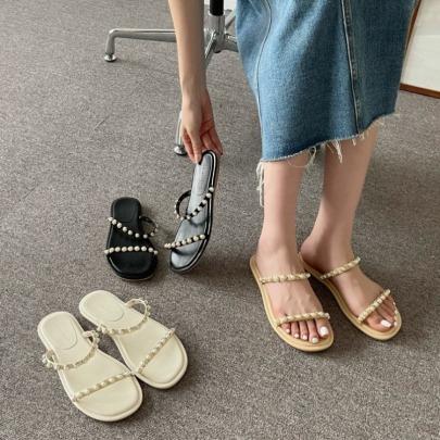 Fashion Pearled Chain Sandals NSHU62774