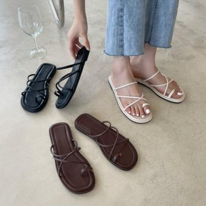 Fashion Plain Color Cross Straps Slide Sandals NSHU62775