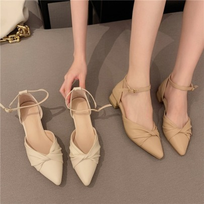 Fashion One-line Buckle Thick Heel Ruffled Soft Leather Pointed Toe Shoes NSHU62787