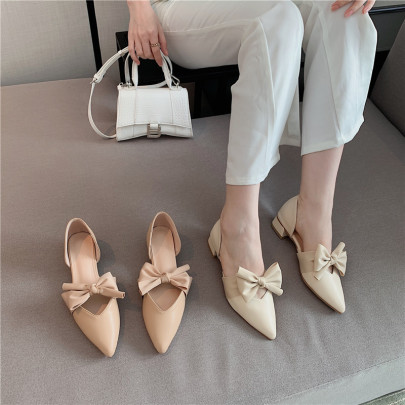 New One-step Fashion Hollow Bow Pointed Toe Shoes NSHU62788