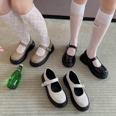 Leather New Autumn Buckle Retro High-heeled Mary Jane Platform Shoes NSHU62808