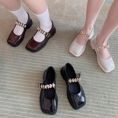 Small Leather Autumn Rhinestone Platform Square Toe Shoes NSHU62811