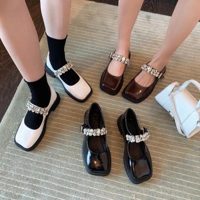Mary Jane Retro Autumn New Rhinestone Buckle Shoes NSHU62812