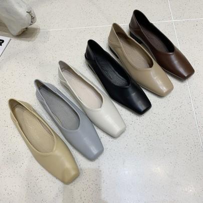 New Fashion Square Toe Low Heel Shoes NSHU62815