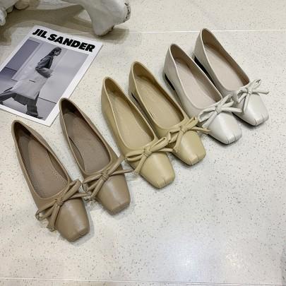 Autumn New Bowknot Square-toe Shoes NSHU62816