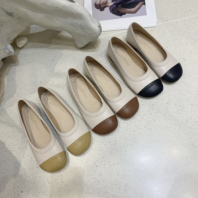 New Round Head Color Matching Thick Heel Shoes NSHU62822