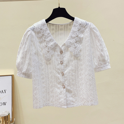 Embroidered Cotton And Linen Chain Link Flower Temperament Lace Lapel All-match Shirt Female Chiffon Shirt NSYID62832