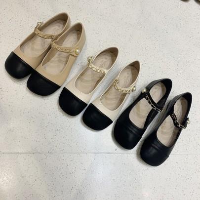 Fashion Chain Decor Round Toe Buckle Flats NSHU62839