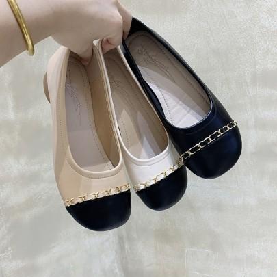 Fashion Splicing Leather Shallow Chain Decor Flats NSHU62840