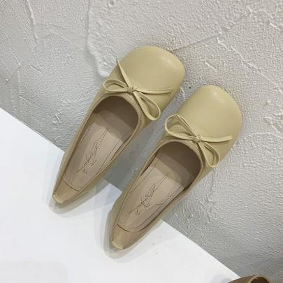 Big Toe Bow Knot Round Toe Comfortable Flats NSHU62846