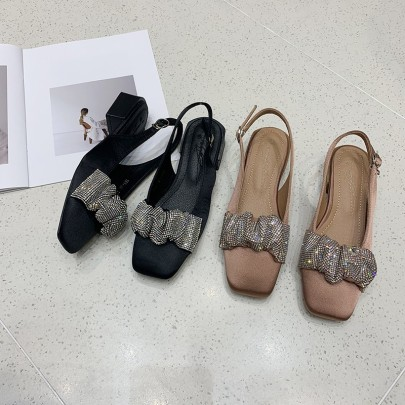 Fashion Silk Rhinestone Flats Sandals  NSHU62848