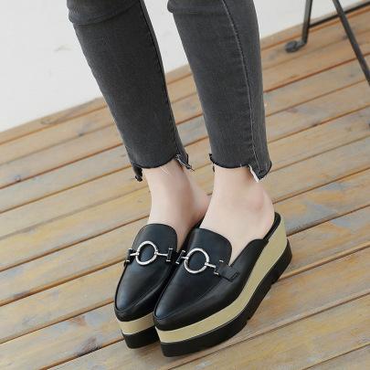 Fashion Metal Decor Thick Bottom Flats NSHU62856