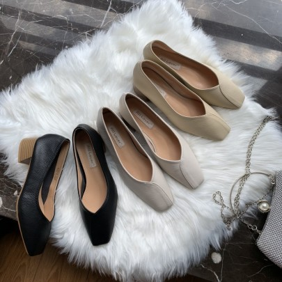 Shallow High Heels Soft Leather Shoes NSHU62857
