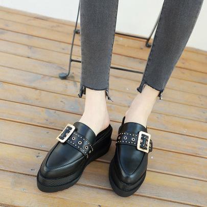 Fashion Metal Buckle Pointed Thick Bottom Flats NSHU62860