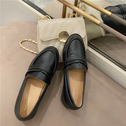 Solid Color Leather Flats  NSHU62861