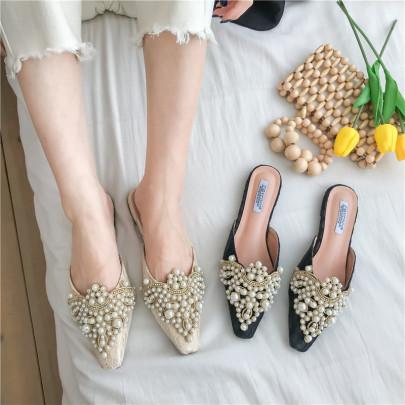 Fashion Pearl Decor Flats NSHU62862