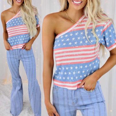 Stripes Star Print Oblique One Shoulder Short-sleeved T-shirt NSZH62872