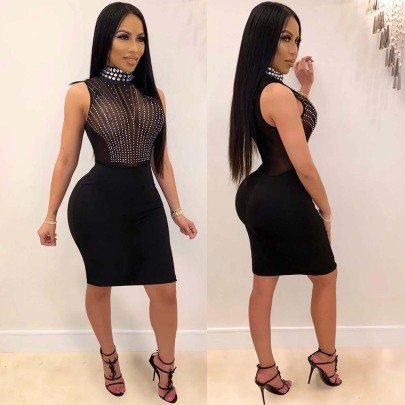 Sexy Hot Drilling See-through High Neck Dress NSWNY62894